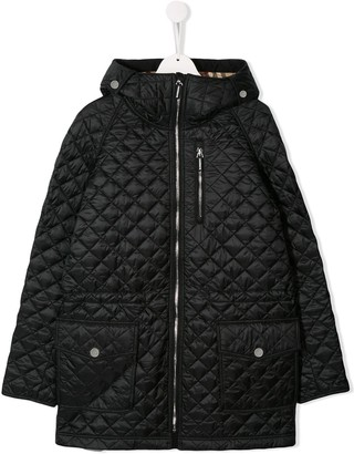 Burberry TEEN quilted hooded padded jacket