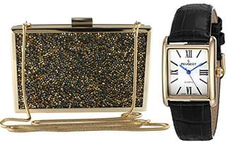 Peugeot Women's 14K Gold Plated Tank Roman Numeral Black Leather Band Watch + 3D Gold Crystal Clustered Evening Clutch Bag Matching Set