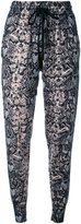 Markus Lupfer snakeskin print track pants - women - Cotton/Wool - XS