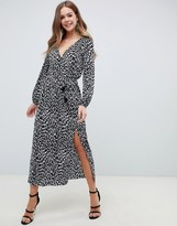 Asos Design DESIGN long sleeve mono animal plisse wrap maxi dress with belt