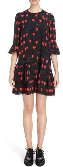 Alexander McQueen Petal Print Silk Ruffle Dress