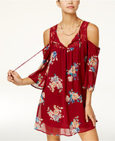 Heart And Soul Juniors' Printed Cold-Shoulder Dress