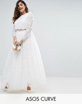 Asos BRIDAL Lace Long Sleeve Maxi Prom Dress