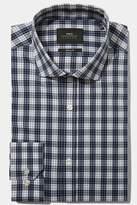 Moss London Skinny Fit Navy Single Cuff Check Stretch Shirt