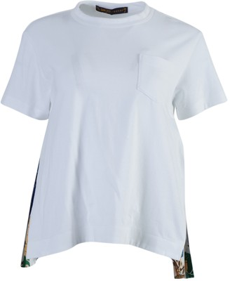Sacai White Side Pleats Crew-neck T-shirt