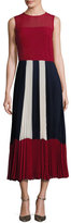 RED Valentino Sleeveless Colorblocked Pleated Muslin Midi Dress, Red