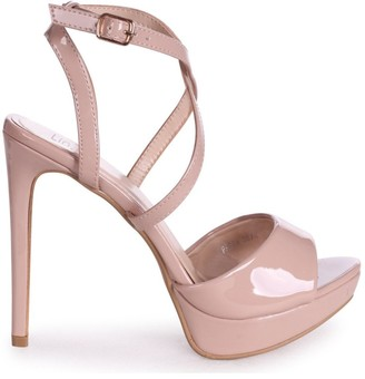Linzi FREYA - Nude Patent Stiletto Open Back Platform With Crossover Front Straps