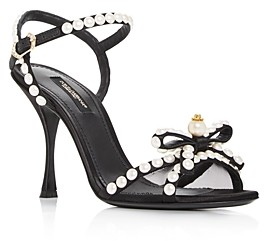 Dolce & Gabbana Women's Pearl Bow High-Heel Sandals