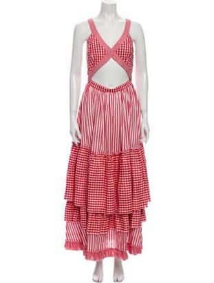 Gül Hürgel Plaid Print Long Dress Red