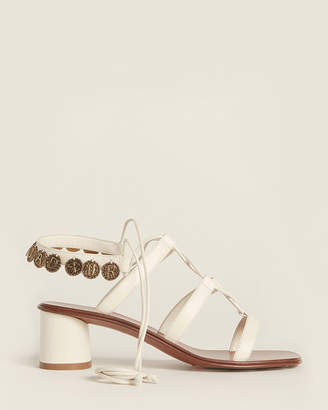 Christian Dior Off-White Zodiac Ankle-Wrap Leather Sandals