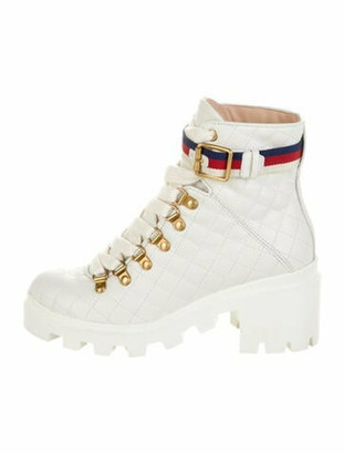 Gucci Sylvie Web Accent Leather Lace-Up Boots White