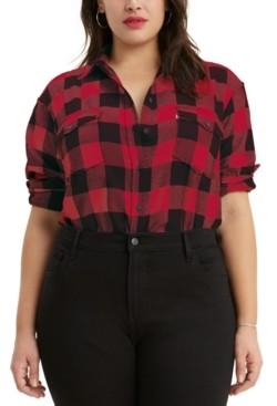 Levi's Trendy Plus Size Plaid Flannel Shirt