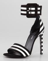 Saint Laurent Paloma Striped Ankle-Strap Sandal