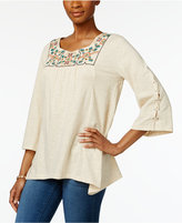 Style&Co. Style & Co Embroidered Handkerchief-Hem Top, Only at Macy's