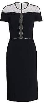 Jenny Packham Women's Mesh Swiss Dot Cocktail Dress