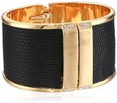 "Kenneth Cole New York Flat Mate"" Pave Leather Hinged Bangle Bracelet"