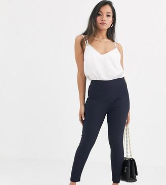 Asos DESIGN Petite high waist trousers skinny fit-Navy
