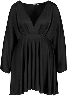 boohoo Plus Plunge Kimono Sleeve Skater Dress