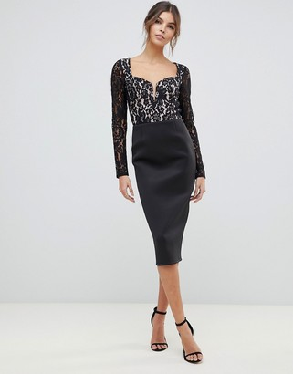 Asos Design DESIGN lace mix midi dress with sweetheart neck-Black