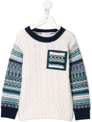 Familiar Fair-Isle Cable Knit Jumper