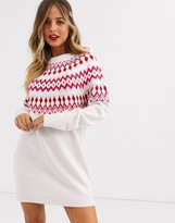 Asos Design DESIGN embellished fairisle christmas jumper dress