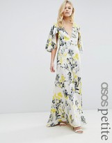 Asos Ruffle Cape Deep Plunge Floral Maxi Dress