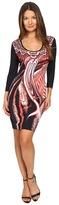 Just Cavalli Leo Hurricane 3/4 Sleeve Bodycon Jersey Dress Women's Dress