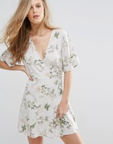 Pull&Bear Wrap Front Floral Tea Dress