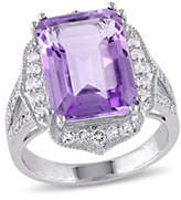 Concerto 0.1TCW Pave Diamond Octagon Amethyst and White Topaz Ring