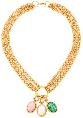 Sylvia Toledano Collier 22K Yellow Goldplated, Oval Cultured Freshwater Pearl, Malachite & Rodochrosite Necklace