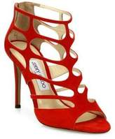 Jimmy Choo Ren 100 Suede Cutout Peep-Toe Sandals