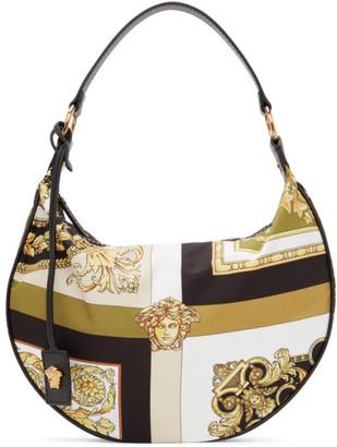 Versace Multicolor Mixed Print Half-Moon Shoulder Bag