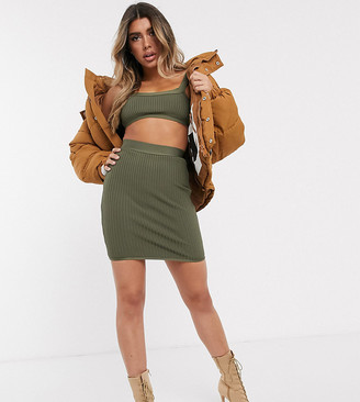 Sixth June high waist pencil skirt in bandage rib co-ord-Green
