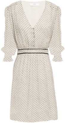 BA&SH Velvet-trimmed Fil Coupe Polka-dot Silk-crepon Mini Dress
