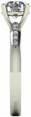 Moissanite 9 Carat White Gold 1.10pt Equivalent Solitaire Ring with Set Shoulders