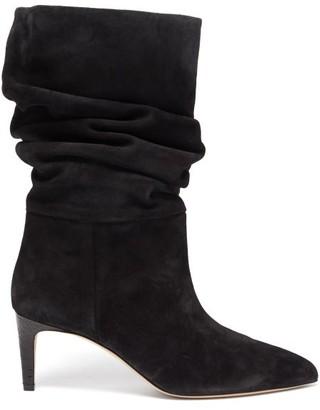 Paris Texas Slouchy Suede Boots - Black