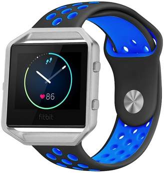 Fitbit POSH TECH Small Silicone Band with Silver Frame for Blaze - Black/Blue