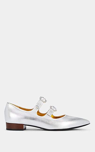 Gucci Women's Crystal-Buckle Metallic Leather Flats - Silver
