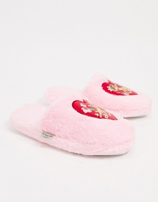 Skinnydip cherub fluffy slippers in pink