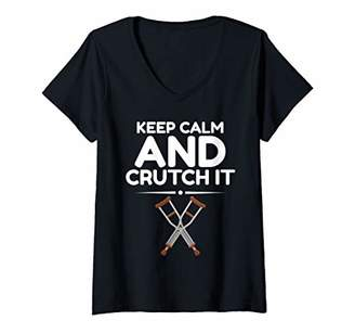 Womens Funny Crutch It Post Surgery Gag Gifts Get Well Soon Gifts V-Neck T-Shirt
