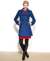 Anne Klein Double-Breasted Wool-Blend A-Line Coat
