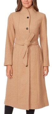 Kate Spade Belted Stand-Collar Maxi Coat