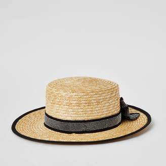 River Island Girls Brown diamante bow boater hat