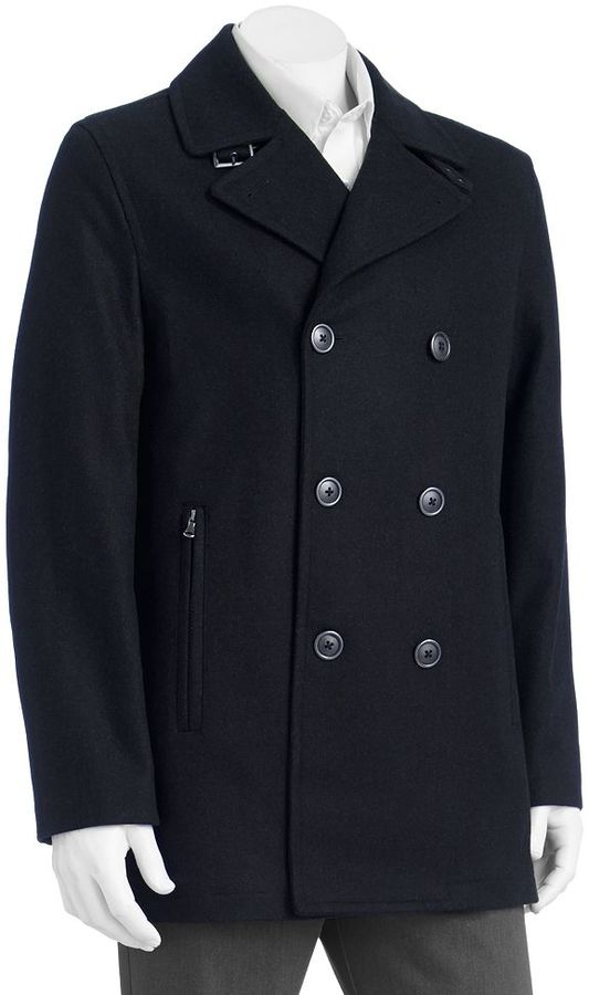 London Fog Towne by double-breasted wool blend peacoat - men