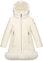 Moncler Jalia Hooded Fur-Trim Jacket, White, Size 8-14