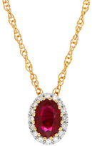 Lord & Taylor Ruby, Diamond and 14K Yellow Gold Pendant Necklace