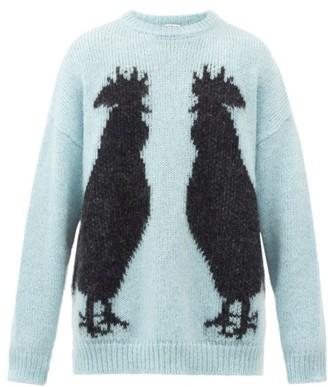 Loewe Rooster-jacquard Mohair-blend Sweater - Light Blue