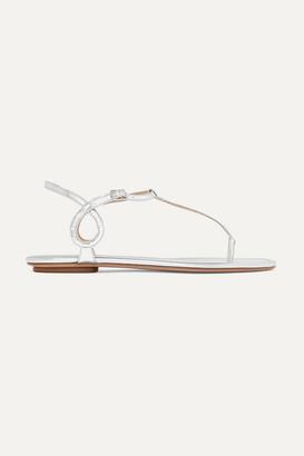 Aquazzura Almost Bare Metallic Leather Sandals - Silver