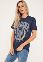 Missguided Navy Alabama Graphic Oversized T-Shirt