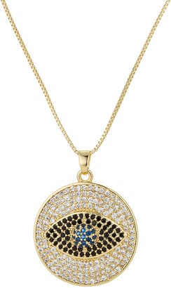 Eye Candy Los Angeles Sterling Silver Pave CZ Evil Eye Pendant Necklace